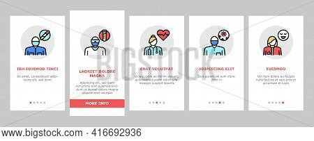 Medical Speciality Onboarding Mobile App Page Screen Vector. Allergy And Immunology, Laboratory And