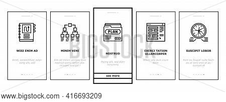 Planning Work Process Onboarding Mobile App Page Screen Vector. Planning Business Project And Optimi