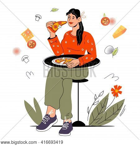 Woman Eating Pizza In A Restaurant Or Street Cafe Surrounded Various Food Symbols, Cartoon Vector Il