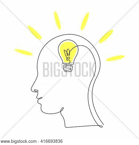 Lightbulb In Head In One Single Line Drawing For Logo, Emblem, Web Banner, Presentation. Continuous