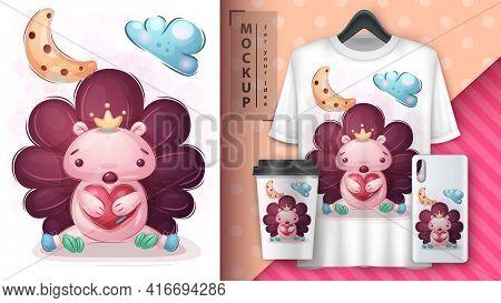 Love Hedgehog Poster And Merchandising. Vector Eps 10