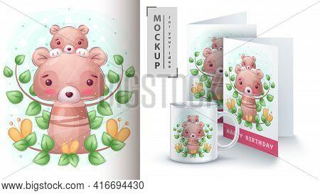 Family Bear Poster And Merchandising. Vector Eps 10
