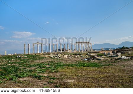 Panoramic View Onto Ancient City Laodicea, Denizli, Turkey. There Are Agora, Colonnaded Street, Ruin
