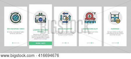 Circular And Linear Economy Model Onboarding Mobile App Page Screen Vector. Eco Friendly Plant And I