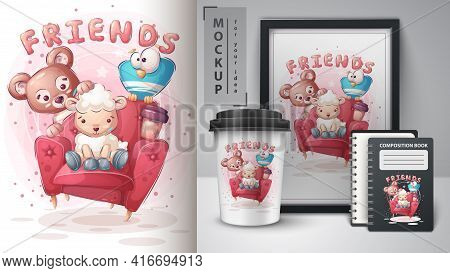 Friends On Sofa Poster And Merchandising. Vector Eps 10