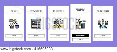 Market Research And Analysis Onboarding Mobile App Page Screen Vector. Market Statistic Infographic