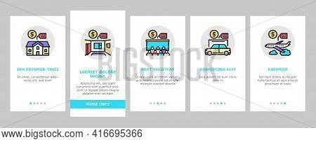 Rental Service Business Onboarding Mobile App Page Screen Vector. House And Apartment, Car And Airpl