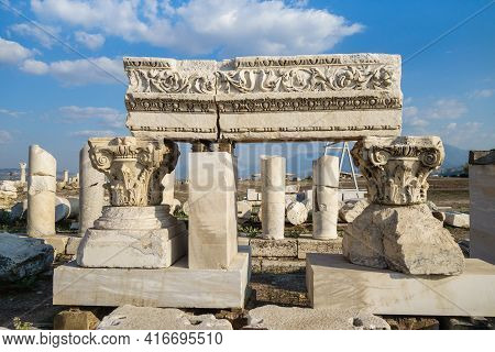 Exposition Of Ancient Colonnade Parts On Street Of Laodicea, Antique City Near Denizli, Turkey. Ther