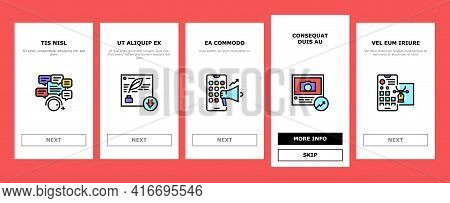 Smm Media Marketing Onboarding Mobile App Page Screen Vector. Robotic Winding Up Likes And Viewing,