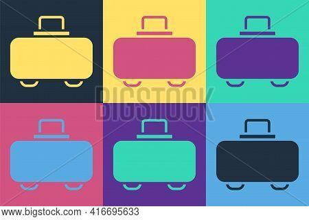 Pop Art Weapon Case For Storing And Transporting Weapons Icon Isolated On Color Background. Vector
