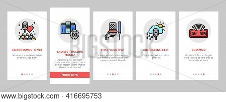 Radio Studio Podcast Onboarding Mobile App Page Screen Vector. Auto Radio And News, Advertising And