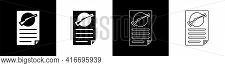 Set Firearms License Certificate Icon Isolated On Black And White Background. Weapon Permit. Vector