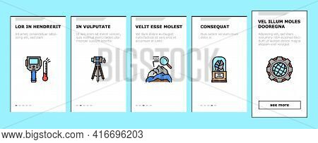 Geology Researching Onboarding Mobile App Page Screen Vector. Gyro Theodolite And And Laser Level, F