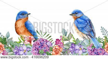 Eastern Bluebirds With Garden Flowers. Seamless Border. Spring Watercolor Image. Bright Garden Bloss