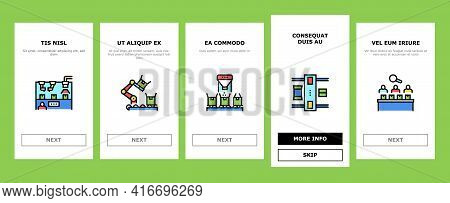 Industrial Process Onboarding Mobile App Page Screen Vector. Industrial Production And Manufacturing
