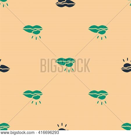 Green And Black Herpes Lip Icon Isolated Seamless Pattern On Beige Background. Herpes Simplex Virus.