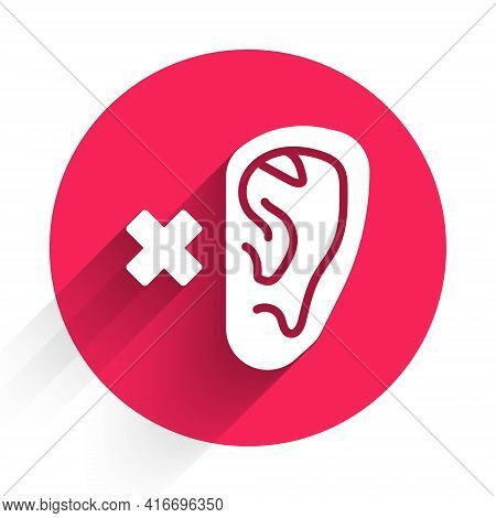 White Deafness Icon Isolated With Long Shadow. Deaf Symbol. Hearing Impairment. Red Circle Button. V