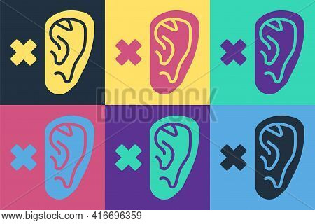 Pop Art Deafness Icon Isolated On Color Background. Deaf Symbol. Hearing Impairment. Vector