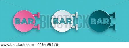 Paper Cut Street Signboard With Inscription Bar Icon Isolated On Blue Background. Suitable For Adver