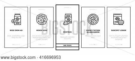 Oatmeal Nutrition Onboarding Mobile App Page Screen Vector. Oat And Flour Bag, Cookies And Milk, Bar