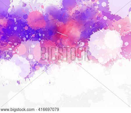 Multicolored Watercolor Imitation Splash Blot In Purple, Pink And White Colors. Background For Your
