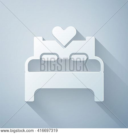 Paper Cut Bedroom Icon Isolated On Grey Background. Wedding, Love, Marriage Symbol. Bedroom Creative