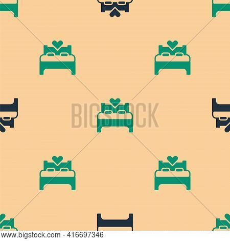 Green And Black Bedroom Icon Isolated Seamless Pattern On Beige Background. Wedding, Love, Marriage