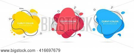 3 Modern Liquid Irregular Amoeba Blob Shape Abstract Elements Graphic Flat Style Design Fluid Vector