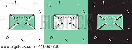 Set Envelope With Valentine Heart Icon Isolated On White And Green, Black Background. Message Love.