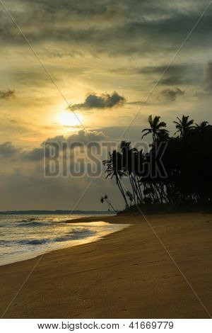Sunset On Ocean Coast