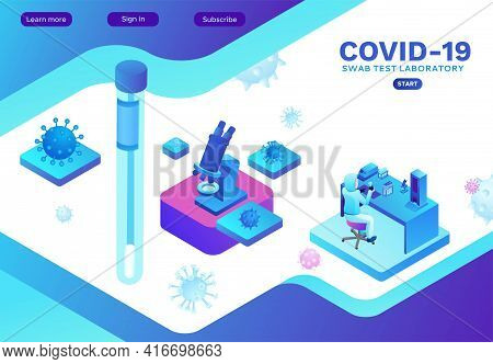 Isometric Laboratory With Scientist In Protective Suit Doing Test Of Coronavirus, Covid-19 Research,