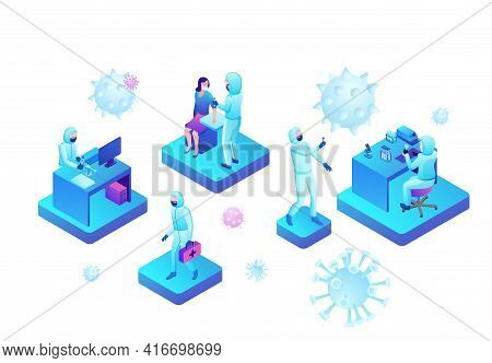 Covid-19 Blood Antibody Test, Isometric Medical Concept, Coronavirus Vector Icon, People In Mask In