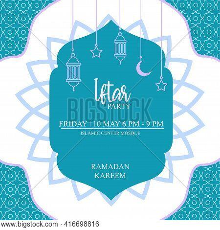 Iftar Party Invitation Ramadan Template Editable Vector Illustration
