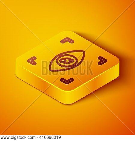 Isometric Line Eye Scan Icon Isolated On Orange Background. Scanning Eye. Security Check Symbol. Cyb