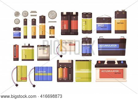 Set Of Metal Batteries, Accumulators, Button Cells, Power Bank Of Different Sizes. Nickel And Lithiu