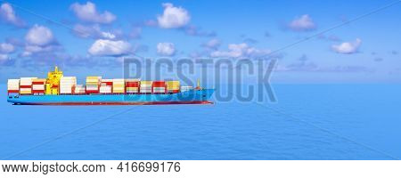 Logistics And Transportation Of International Container Cargo Ship. Freight , Shipping, Nautical Ves