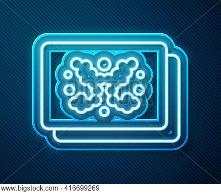 Glowing Neon Line Rorschach Test Icon Isolated On Blue Background. Psycho Diagnostic Inkblot Test Ro