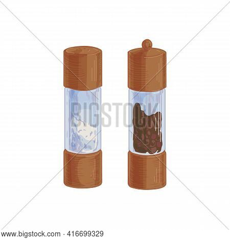 Salt Shaker And Black Pepper Mill Or Grinder From Wood And Glass. Bottles Filled With Condiments Or