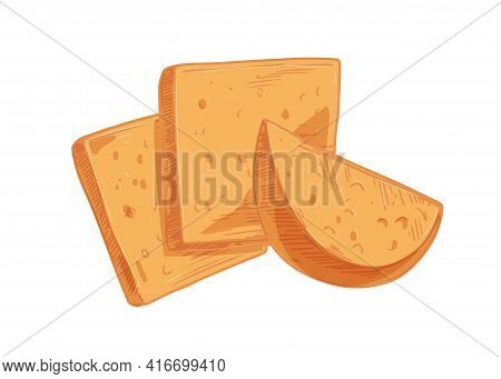 Swiss Cheese Slices With Holes Isolated On White Background. Composition With Cheeze Pieces. Hand-dr