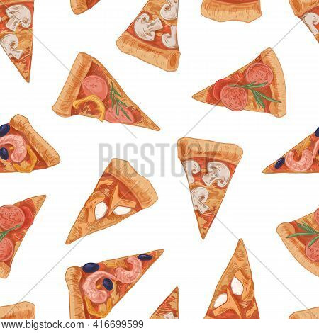 Seamless Pattern With Different Italian Pizza Slices With Meat And Vegetables. Endless Texture In Re