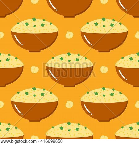 Bowls Of Hummus And Chickpeas, Traditional Middle East Dish Or Spread Vector Seamless Pattern Backgr
