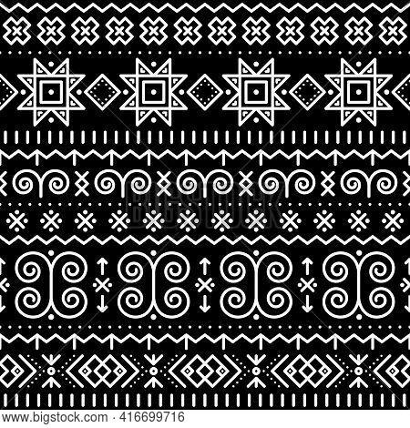 Slovak Folk Art Vector Seamless Geometric Pattern With Swirls, Zig-zag Shapes Inspired By Traditiona