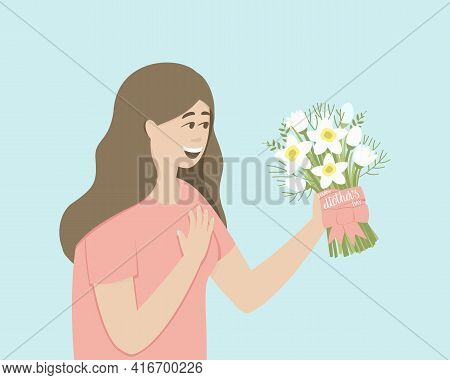 The Woman Was Presented With A Bouquet Of Daffodils For Mother's Day. Mom Admires A Bouquet Of Flowe