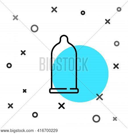 Black Line Condom Safe Sex Icon Isolated On White Background. Safe Love Symbol. Contraceptive Method