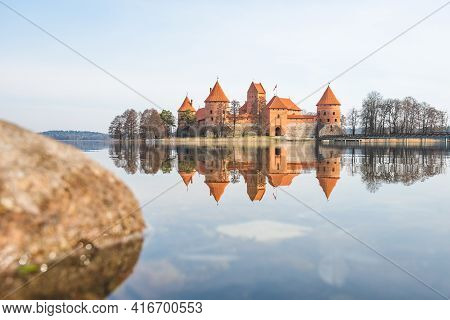 Medieval Castle Of Trakai, Vilnius, Lithuania, Eastern Europe, Located Between Beautiful Lakes And N