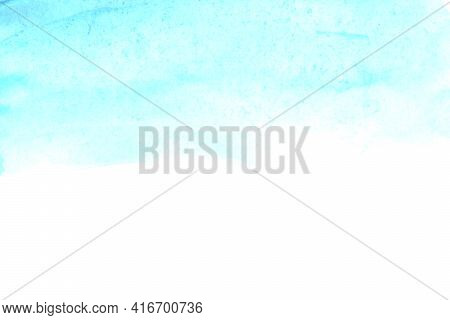 Abstract Watercolor Background Of The Blue Sky Horizon. Hand Painted. Stain Blot Spot Blob. Template