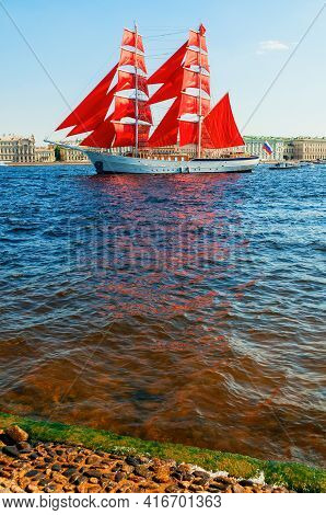 St Petersburg, Russia - June 6, 2019. Russian Brig Russia With Scarlet Sails On The Neva River. Scar