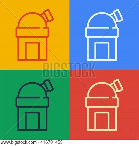 Pop Art Line Astronomical Observatory Icon Isolated On Color Background. Observatory With A Telescop