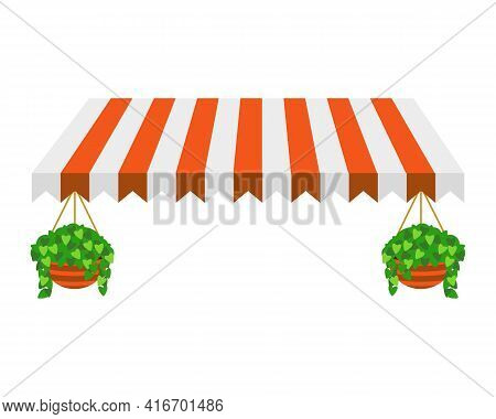 Striped Orange Awning Isolated On White Background With Plants In Pots.. Canopy For Restaurant, Cafe
