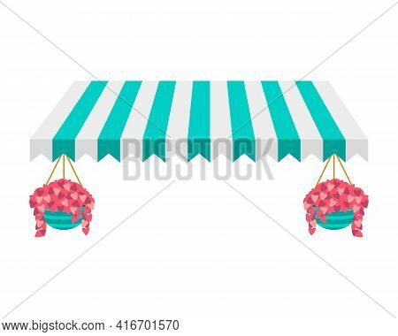 Striped Turquoise And White Canopy With Pink Flowers Suspended In A Pot.